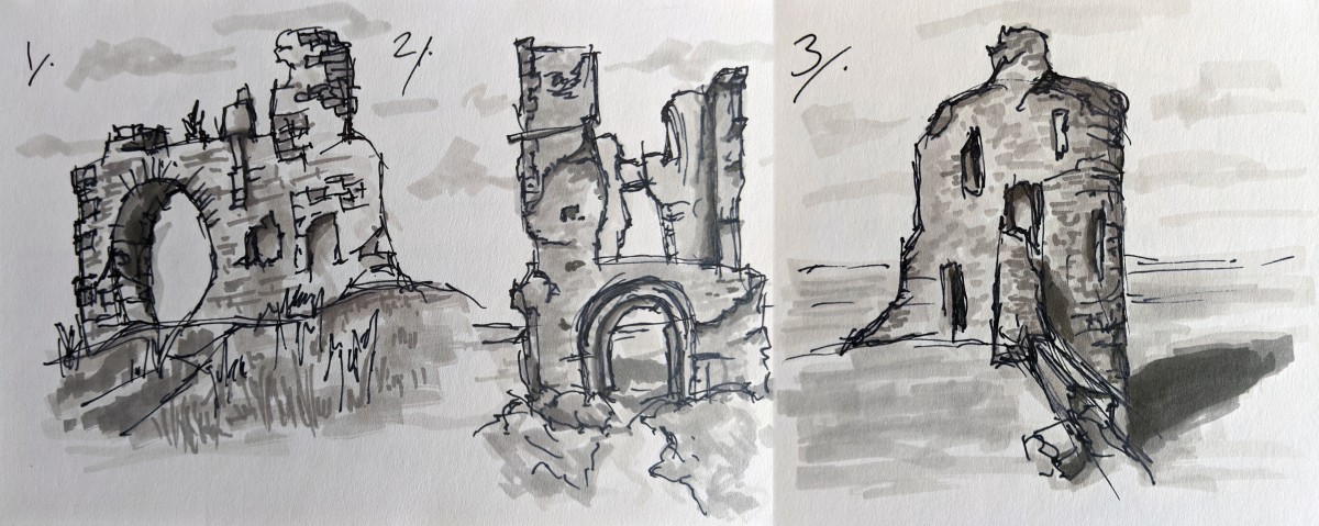 Sketches of proposed ruins